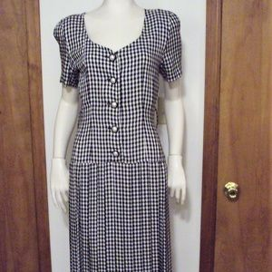 Expo Pleated Dress Black White Houndstooth Vintage